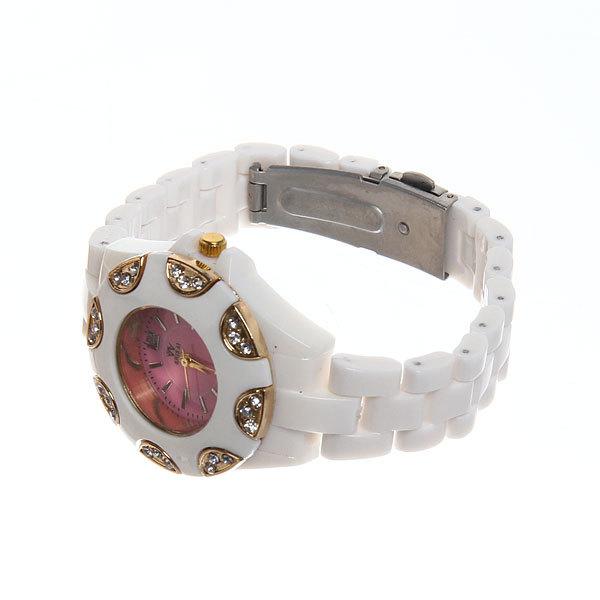 Часы наручные под керамику, цвет белый, оконтовка цвет золото, яркий цветной циферблат купить оптом и в розницу