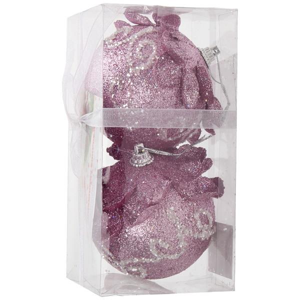 Новогодние шары ″Розовая шишечка″ 8см (набор 2шт.) купить оптом и в розницу