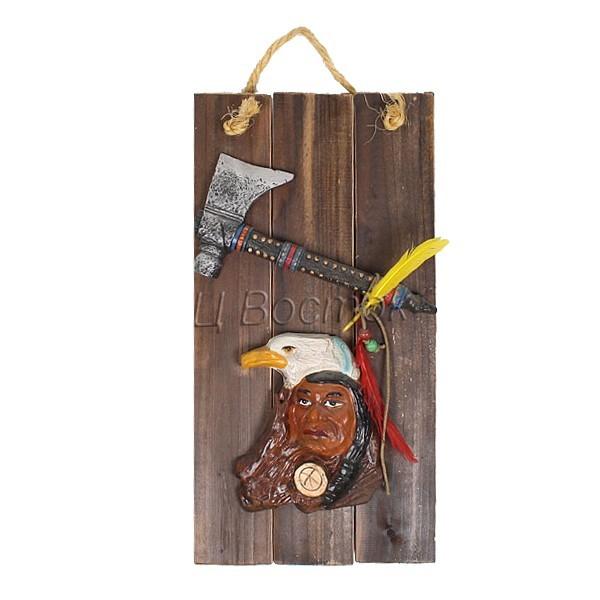 Картина-панно из пластика 19*37см ″Индеец с топором″ купить оптом и в розницу
