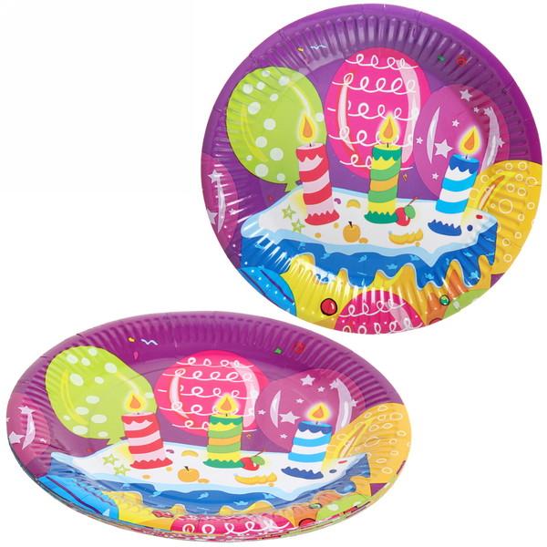 Тарелка бумажная 23 см в наборе 10 шт ″День рождения″ 7 купить оптом и в розницу