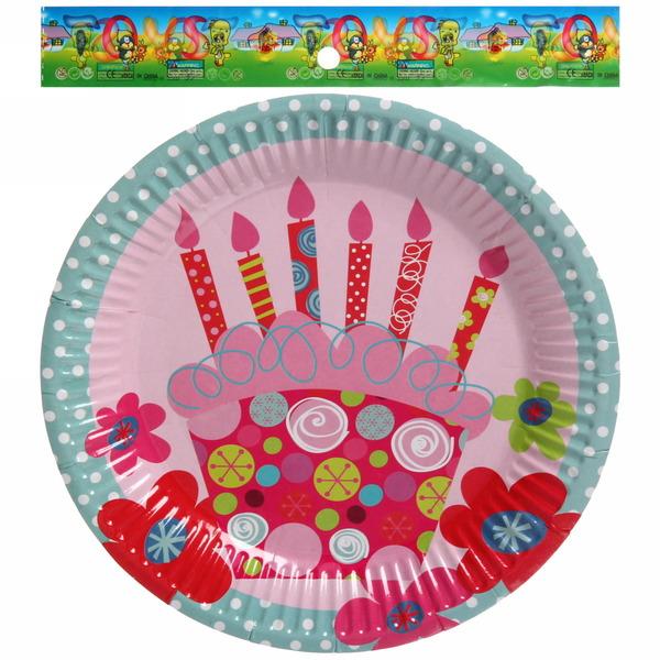 Тарелка бумажная 23 см в наборе 10 шт ″День рождения″ 12 купить оптом и в розницу
