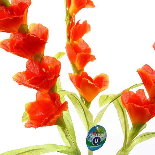 Цветок искусственный 100см Гладиолус 7цветков оранжевый 9178-27 купить оптом и в розницу