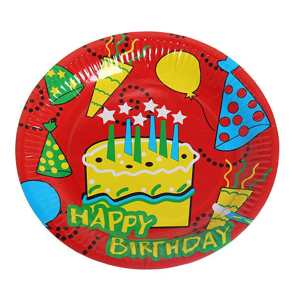 Тарелка бумажная 23 см в наборе 10 шт ″День рождения″ 1 купить оптом и в розницу