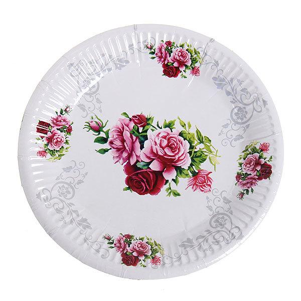 Тарелка бумажная 18 см в наборе 10 шт ″Цветы″ 05 купить оптом и в розницу