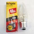 Лампа накаливания Navigator NI-В-40Вт-E27-230В-CL прозрачн.свеча (10/100) купить оптом и в розницу