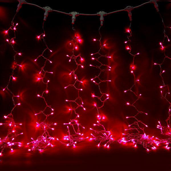 Занавес светодиодный ш 2 * в 3м, 432 ламп LED, ″Дождь″, Красный, 8 реж, прозр.пров. купить оптом и в розницу