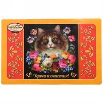 Термосалфетка пластик 42*27 см ″Удачи и счастья!″, Жостовская кошка купить оптом и в розницу