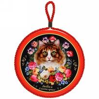 Подставка под горячее керамика 16 см ″Любви и благополучия!″, Жостовская кошка купить оптом и в розницу
