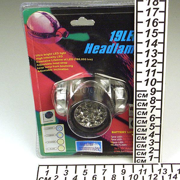 Фонарь налобный 19 LED 1W 180LUM 3AAA купить оптом и в розницу