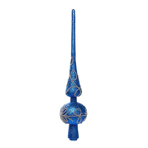 Верхушка на ёлку синяя 29см ″Белые узоры″ купить оптом и в розницу