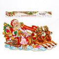 Плакат новогодний 26*45 см Дед Мороз везет подарки купить оптом и в розницу