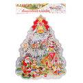 Плакат новогодний 31*22 см Елка с Дедами Морозами и эльфами купить оптом и в розницу