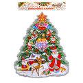 Плакат новогодний 31*22 см Елка с Дедом Морозом и ангелами купить оптом и в розницу