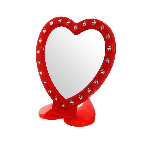 Зеркало настольное в пластиковой оправе ″Белые выемки″ сердце, подвесное 15*14,5см купить оптом и в розницу