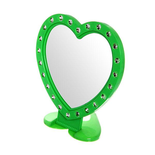 Зеркало настольное в пластиковой оправе ″Белые выемки″ сердце, подвесное 19*18см купить оптом и в розницу
