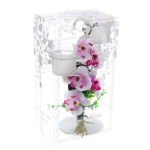 Подсвечник ″Орхидея Белая″ 23см РХ249 купить оптом и в розницу