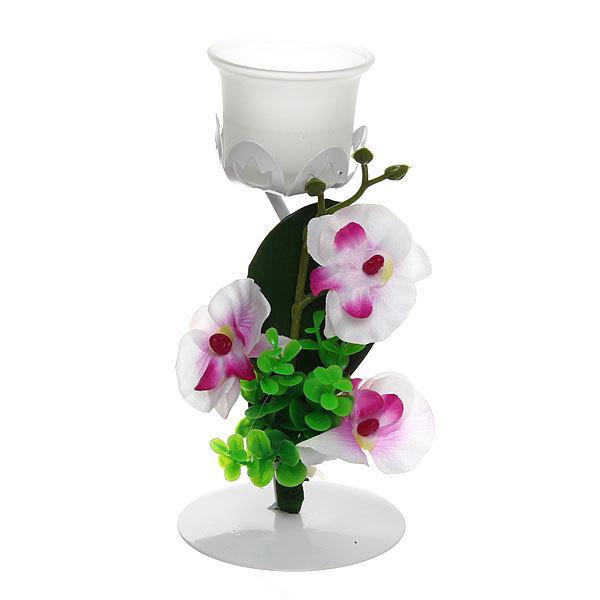 Подсвечник ″Орхидея Белая″ 19см РХ250 купить оптом и в розницу