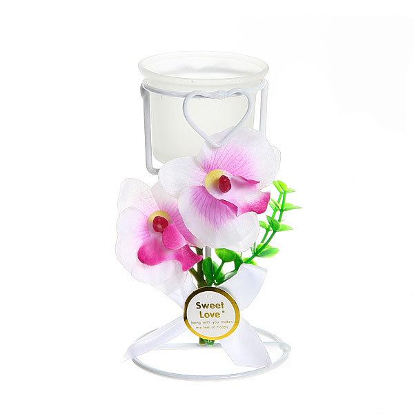 Подсвечник ″Орхидея Белая″ 14.5см РХ050 купить оптом и в розницу