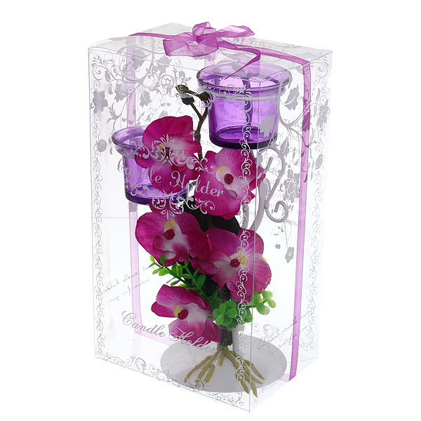 Подсвечник ″Орхидея Сиреневая″ 23см РХ249 купить оптом и в розницу
