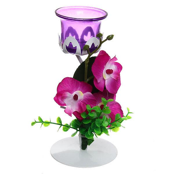 Подсвечник ″Орхидея Сиреневая″ 19см РХ250 купить оптом и в розницу