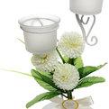 Подсвечник ″Хризантемы белые″ 23см РХ1023А купить оптом и в розницу