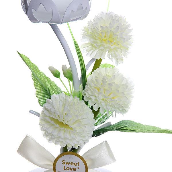 Подсвечник ″Хризантемы белые″ 19см РХ1029 купить оптом и в розницу