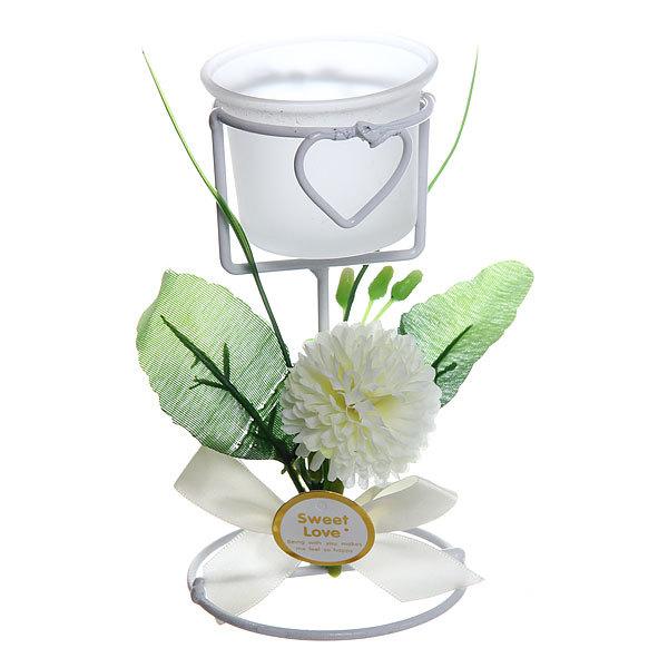 Подсвечник ″Хризантемы белые″ 14см Н0002 купить оптом и в розницу