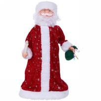Дед Мороз музыкальный 39см красный со свечой и мешком купить оптом и в розницу