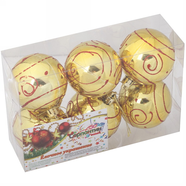 Новогодние шары ″Узоры на золоте″ 6см (набор 6шт.) купить оптом и в розницу