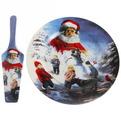 Тортница с лопаткой ″Дед Мороз и дети″ 26см купить оптом и в розницу