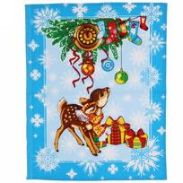 Полотенце вафельное 45*60см ″Рождественские истории″ голубое купить оптом и в розницу