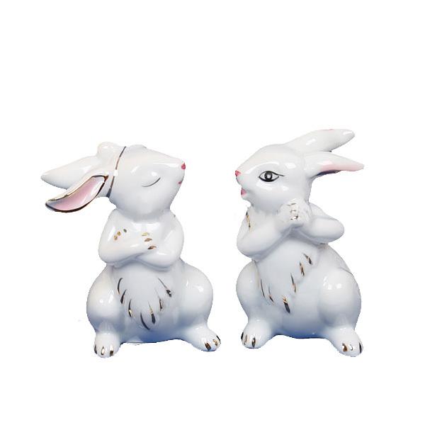 Фигурки керамические ″Глазурь″ Зайки,6см (набор 2шт) купить оптом и в розницу