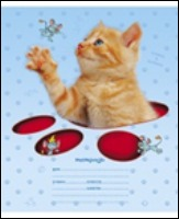 """Тетрадь 12л.кл.скрепка HATBER, """"Кошки-мышки"""", тиснение купить оптом и в розницу"""