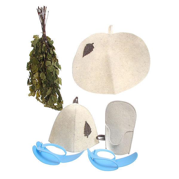 Набор ″Универсальный″ (веник банный,шапка, рукавица, коврик, тапочки) Б286 купить оптом и в розницу