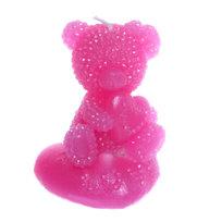 Свеча ″ Мишка с сердцем ″ 1 шт розовый 8*5см купить оптом и в розницу