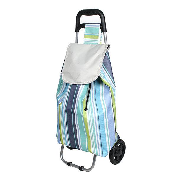 Тележка хозяйственная с сумкой (90*36*32см, колеса 16см) голубые полоски купить оптом и в розницу