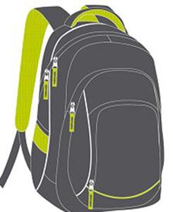 """Рюкзак молодежный """"Феникс""""45*32*16см CASUAL темно серый-салатовый, с светоотр.элемент. купить оптом и в розницу"""