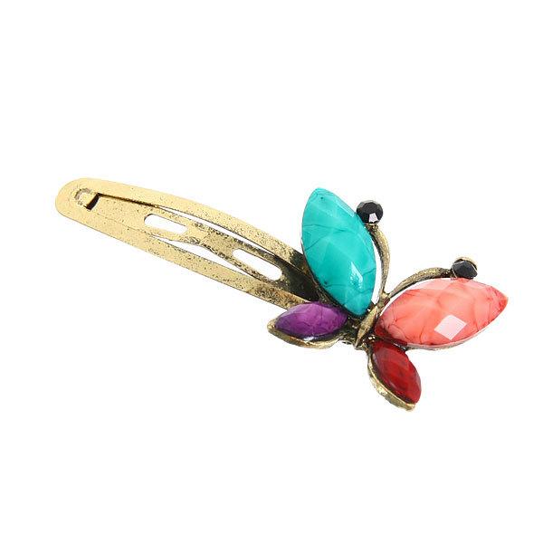 Зажимы для волос металлические 12шт ″Француаза - бабочка″, цвет бронза 6см купить оптом и в розницу