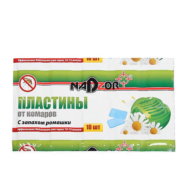Пластины от комаров 10шт с запахом ромашки NADZOR купить оптом и в розницу