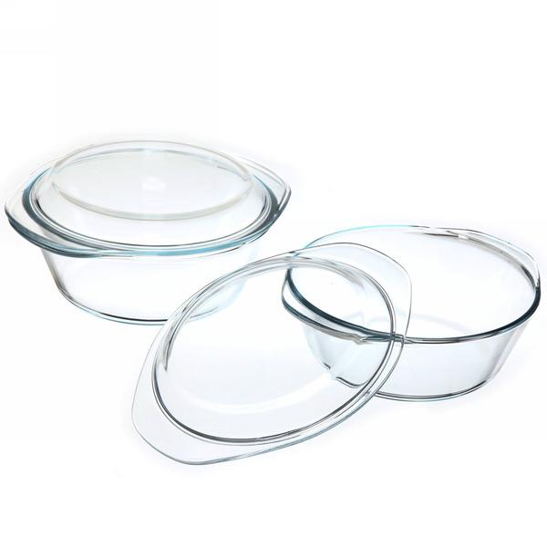 Набор кастрюль из жаропрочного стекла ″HELPER″ 2 предмета (1,8л; 2,3л) купить оптом и в розницу