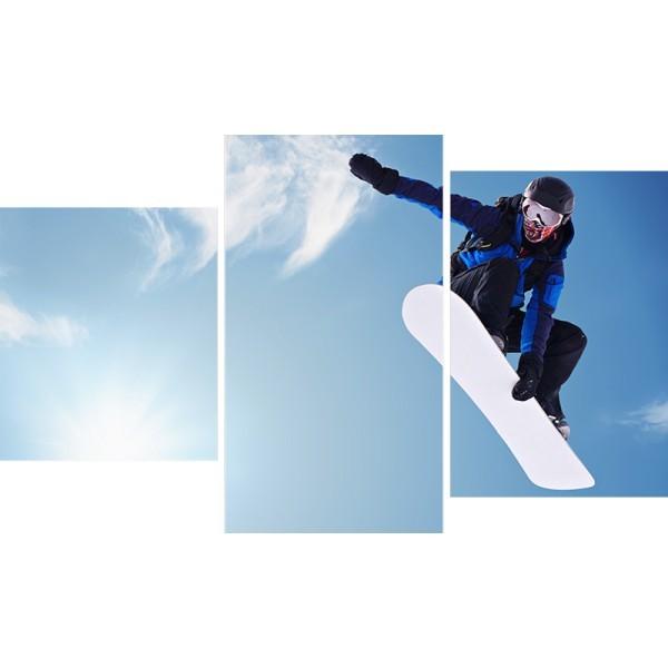 Картина модульная триптих 55*96 см, сноубордист купить оптом и в розницу