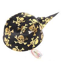 Шляпа-бандана карнавальная ″Пират″ золотые черепа 020-1 купить оптом и в розницу