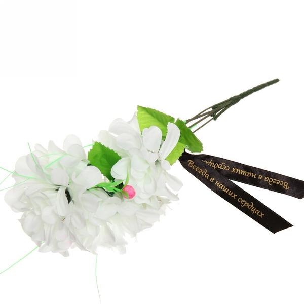 Цветы искусственные 30см букет Хризантемы 5 цветков белые с траурной лентой купить оптом и в розницу