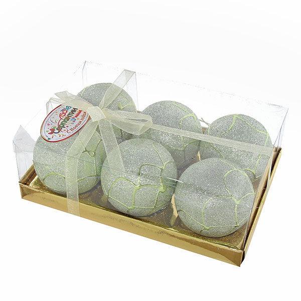 Новогодние шары ″Снежный лес″ 6см (набор 6шт.) купить оптом и в розницу