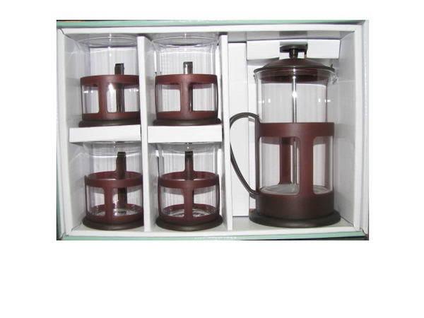 Набор чайный из стекла френч-пресс 600 мл + 4 чашки коричневый К* купить оптом и в розницу