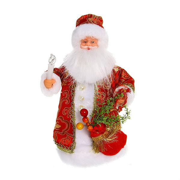 Дед Мороз музыкальный 25см со свечкой в красной шубе купить оптом и в розницу