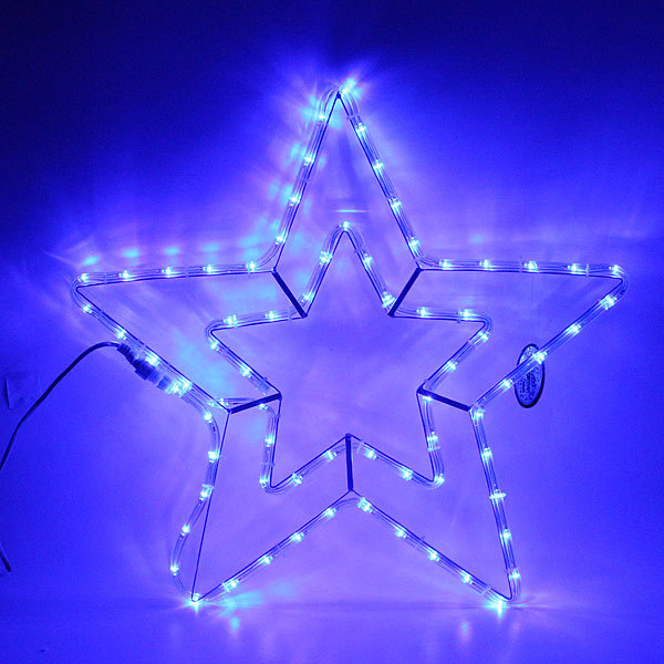 Световое панно, дюралайт, 54см,″Звезда″, 2 контура, синяя купить оптом и в розницу