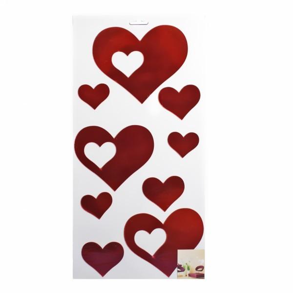 Наклейка интерьерная зеркальная 60*40см Сердечки 4408 9 шт 2 цвета купить оптом и в розницу