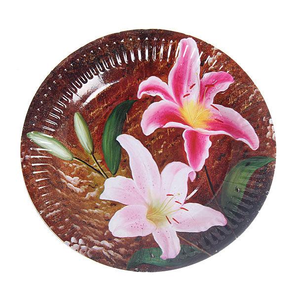 Тарелка бумажная 18 см в наборе 10 шт ″Цветы″ 10 купить оптом и в розницу