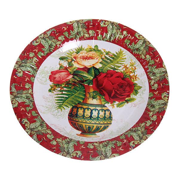 Тарелка бумажная 18 см в наборе 10 шт ″Цветы″ 12 купить оптом и в розницу